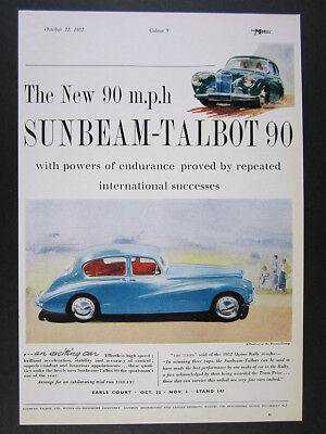 1952 Sunbeam-Talbot 90 Sports Saloon blue car illustration art vintage print Ad