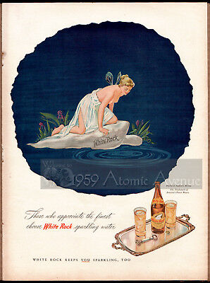 Vintage Christmas '45 White Rock Sparkling Mineral Water Cocktail Mixer Ad Page