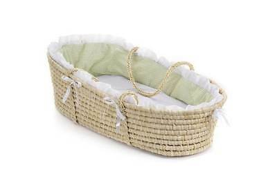 Badger Basket Natural Moses Basket w Sage Gingham Bedding [ID 49404]