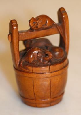 Authentic Antique Japanese 3 Mice in Barrel NETSUKE. Hand Carved Signed Boxwood