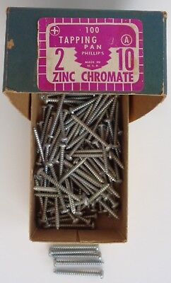 "Vintage 2"" Pan Head Phillips ZINC Chromate Tapping Screws No. 10 A, over 100"