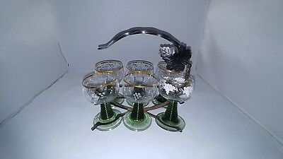 Brandy glasses vintage (6-glasses w/holder)
