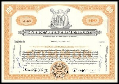 1963 Hydrocarbon Chemicals Inc. 100 Shares Common Certificate WYSIWYG! F+