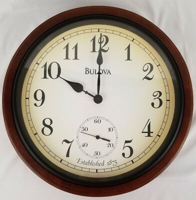 Bulova Wall Clock C4447 Richmond Deco Wall Clock Solid Walnut