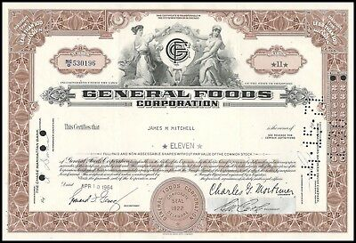 General Foods Corporation (Food and Cereals) 11 Shares Brown 1964 WYSIWYG!