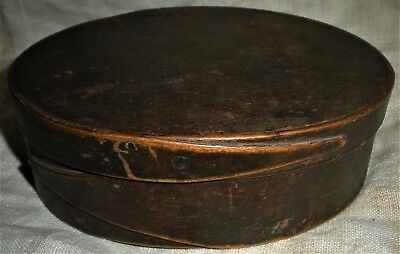 ANTIQUE PRIMITIVEc1800 LARGE SHAKER PANTRY BOX ORIGINAL SPANISH BROWN PAINT vafo