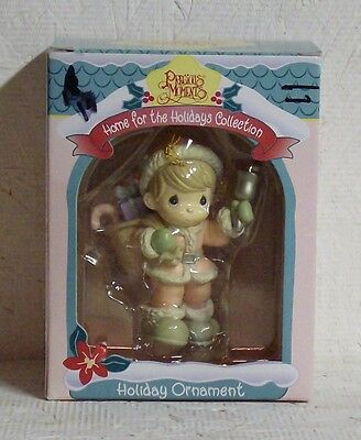 1995 PRECIOUS MOMENTS ORNAMENT | Girl in Pink w/Bag of Toys Ringing Bell ENESCO