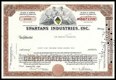 1969 Spartans Industries Inc. (Retail Holdings) 35,710 Share Cert WYSIWYG! VF+