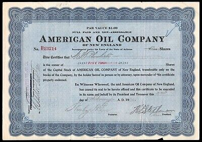 1920 American Oil Company of New England 5000 Share Certificate WYSIWYG VG+