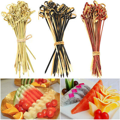 100Pcs Bamboo Knot Skewers Cocktail Sticks Ideal Canape Buffet Party Tableware