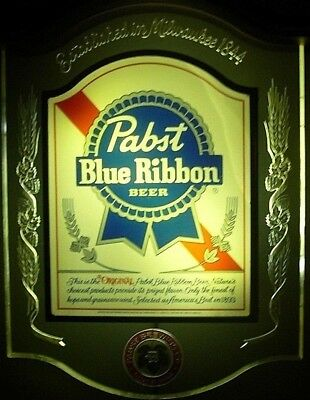 Vintage Pabst Blue Ribbon Crystal Heritage Back Bar Display Lighted Sign