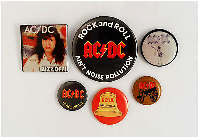 AC/DC Lot Of 6 80's Original Buttons Pins / Hells Bells / Flick Of The Switch