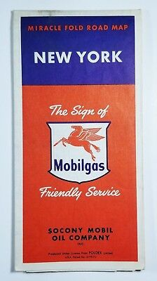 Vintage Mobilgas New York Fold Out Road Map Socony Mobil Oil Co Circa 1950s