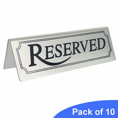 10 Stainless Steel Reserved Table Signs - BarBits Tent Type Restaurants Sign New