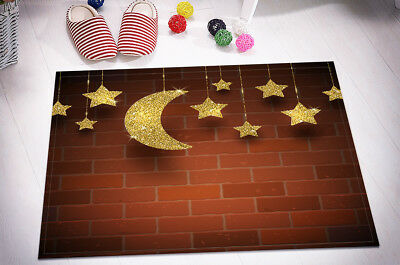 Kitchen Bathroom Floor Bath Door Mat Bathmat Brick Wall Glitter Gold Stars Moon