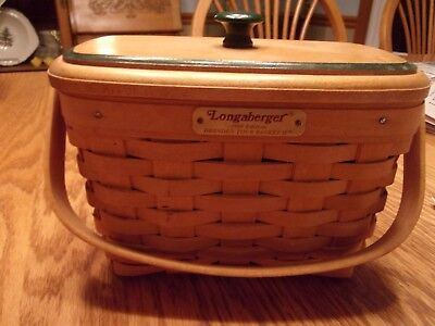 Longaberger 1996 Dresden Tour Basket II, with protector and wooden lid