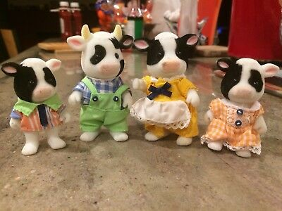 Calico Critters Friesian Cow Family 4 Black White Cows Epoch Sylvania Families