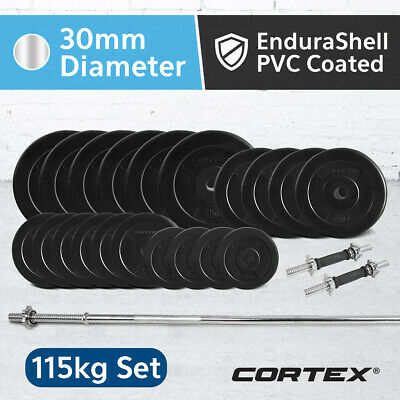 Cortex 115kg EnduraShell Weight Set Included Barbell and Dumbbell handles