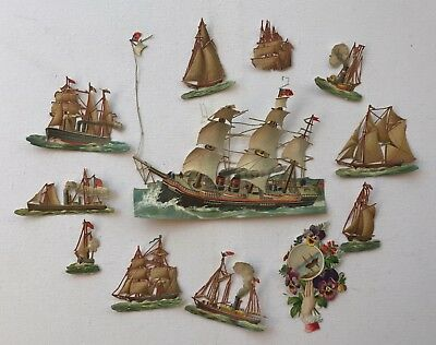 Antique Victorian Die Cut Paper Images Vintage Sail Boats Scrapping Lot 1886