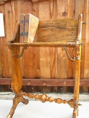 antique public library book shelf table stand - wormwood construction