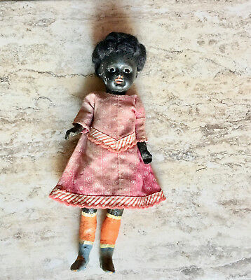 Antique Black Bisque Head Girl Doll Primitive Body Ethnic Americana Collectible