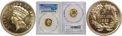 1885 $3 Gold Coin PCGS MS-64+ CAC