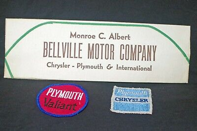Vintage Plymouth Valiant Plymouth cloth patches & paper attendant's hat 1960's