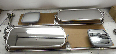 Heated Mirrors for Semi Trucks & RV With Dual Head System Stainless Steel NOS