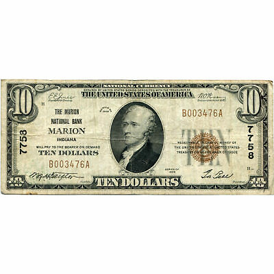 1929 $10 National Bank Note Marion IN Charter #7758 Fine