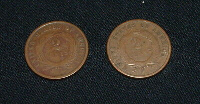 1866 And 1870 Set Of 2 Us 2 Cent Shield Coins