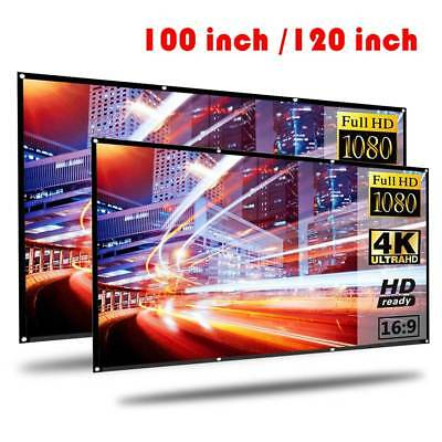 "100'' 120"" Portable Foldable Projector Screen 16:9 HD Theater Outdoor 3D Movies"