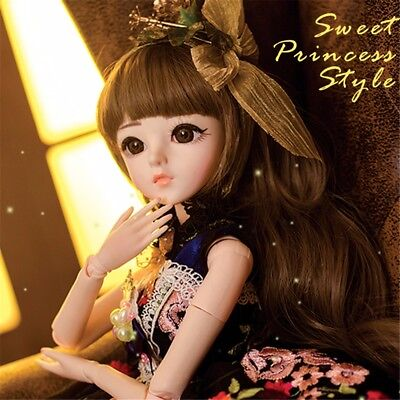 1/3 BJD Doll Christmas Birthday Gift Free Face Make UP Eyes Clothes Shoes Wig
