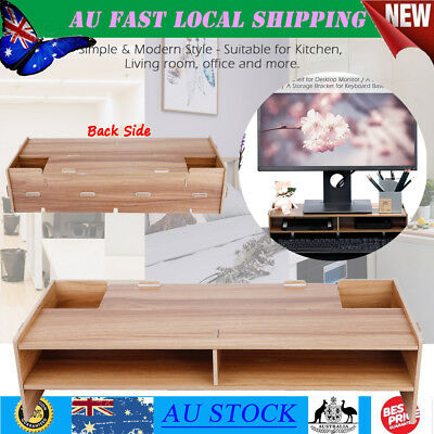 2Layer Desktop Monitor Stand LCD TV Laptop Rack Computer Screen Riser Shelf