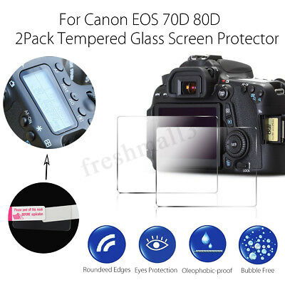2PCS HD Tempered Glass LCD Screen Protector Guard Cover For Canon EOS 70D 80D