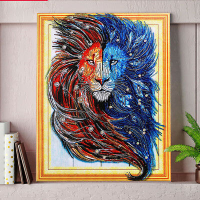 """""""NEW"""" LEROY THE LION , 5D DIY DIAMOND LIKE PAINTING BY NUMBER KIT 40x50cm Huge!"""