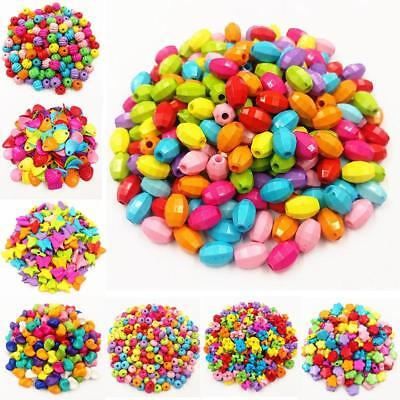 50/100PCS Assorted Mix of Opaque Colored Plastic Acrylic Loose Beads Lot