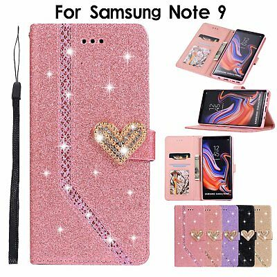 Luxury Leather Glitter Wallet Magnetic Flip Phone Case Cover For Samsung Note 9
