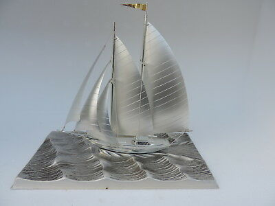 Masterly Crafted Japanese Silver Plated Yacht Sailboat Ship By Takehiko Japan