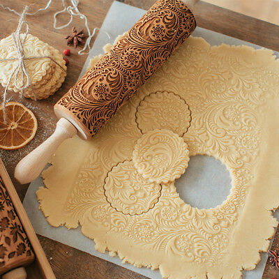 1 PC Flower Wood Rolling Pin Embossing Baking Cookies Biscuit Fondant Christmas