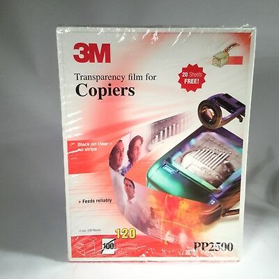 3M Transparency film for Copiers Black on clear no stripe 120 Sheets PP2500 New
