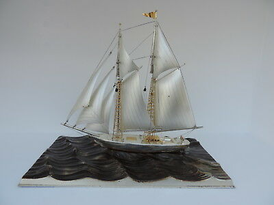LARGE SIGNED JAPANESE 2 MASTED STERLING SILVER SHIP BY SEKI JAPAN 199 grams 7 oz