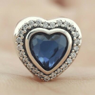 925 Sterling Silver Sparkling Love Charm Clear CZ Blue Crystal Heart 2018 Winter