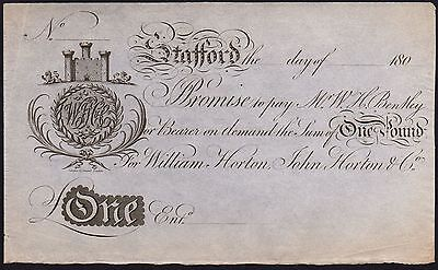 1800 STAFFORD £1 BANKNOTE * UNISSUED * aEF * Outing 2023 *