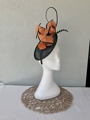 Ladies Black & Orange Sinamay Feather Headband Fascinator Wedding Races