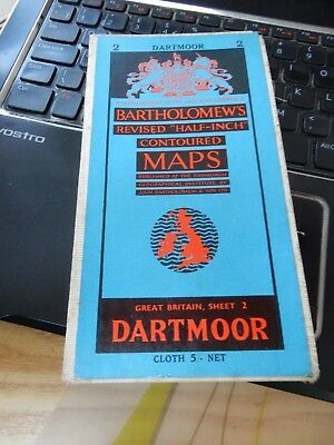 DARTMOOR OS MAP VINTAGE   old cloth map  great as gift   ww2 era