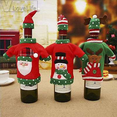 New Year Decor Red Wine Bottle Cover Ugly Sweater Party Gifts Home Xmas Party