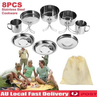 8Pcs Outdoor Picnic Camping Hiking Cooking Pot Pan Stainless Steel Cookware Set