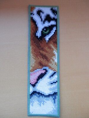 Completed cross-stitch bookmark on plastic canvas - Tiger