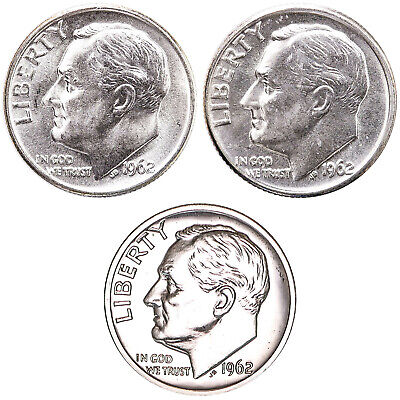 1962 P D Roosevelt Dime Year Set Silver Proof & BU US 3 Coin Lot