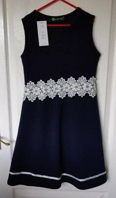 Girls Sleeveless Lace Waist Skater Dress Textured Casual Party Top Skirt 11-12Y